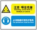 噪音区域提示标识 注意 噪音危害 必须佩戴听觉防护器具 500*400mm