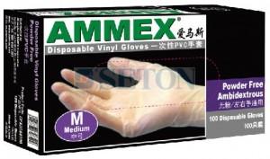 一次性白色PVC手套 无粉 M号 100只/盒 厚度4mil