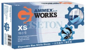AMMEX一次性轻薄型蓝色丁腈手套(无粉),盒/100只
